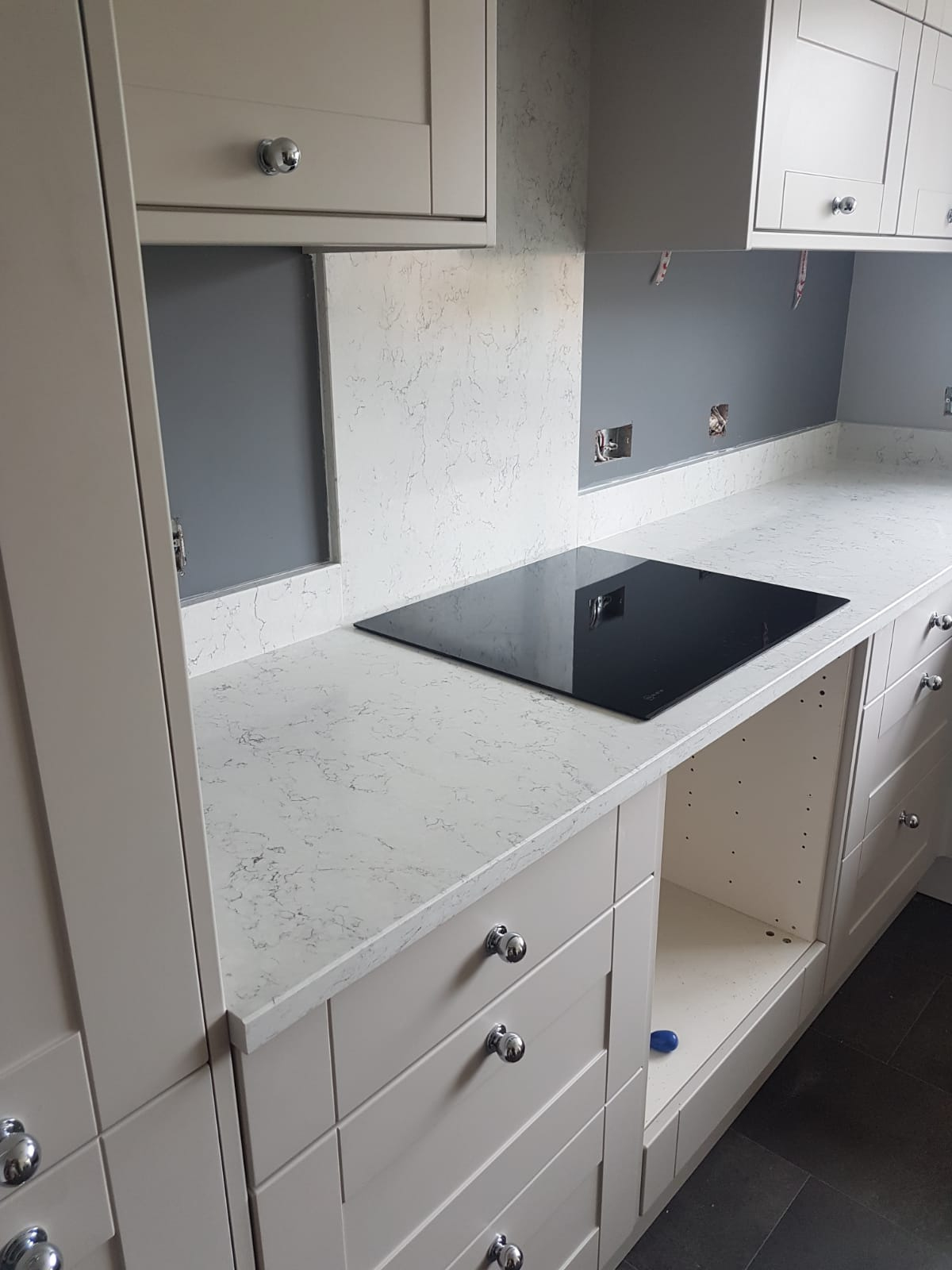 Ocean White Quartz Fitted Worktops Antiquity Marble And